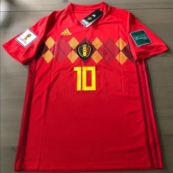 size 40 79bfd 635ac Belgium E. Hazard #10 red Soccer jersey men NWT